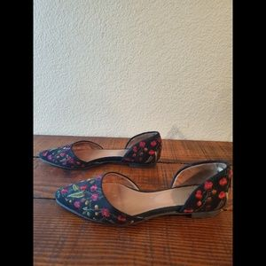 J Jill Floral Embroidered D'orsay Ballet Flats